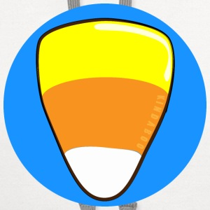 Candy Corn on a Blue Button - Contrast Hoodie