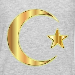 Golden Crescent Moon And Star Enhanced Without Bac - Men's Premium Long Sleeve T-Shirt