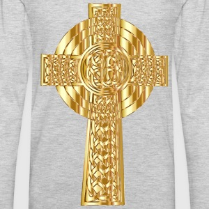 Golden Celtic Cross 2 - Men's Premium Long Sleeve T-Shirt
