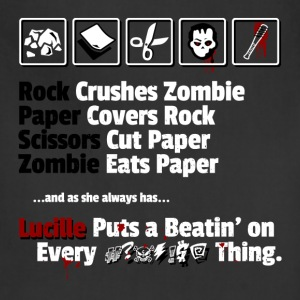 Rock, Paper, Scissors, Zombie, Lucille T-Shirts - Adjustable Apron