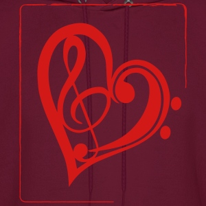Treble & Bass Clef Heart - Men's Hoodie