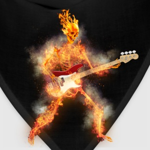 Flaming Skeleton Base Guitarist T-Shirts - Bandana