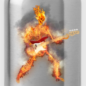 Flaming Skeleton Base Guitarist T-Shirts - Water Bottle