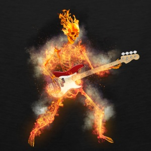 Flaming Skeleton Base Guitarist Aprons - Men's Premium Tank