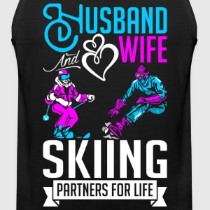 Husband And Wife Skiing Partners For Life T-Shirts - Men's Premium Tank