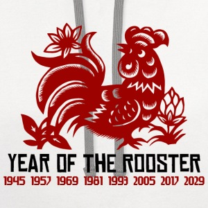 Chinese Zodiac Rooster Paper Cut - Contrast Hoodie