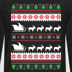 French Bulldog Santa's Reindeer Christmas Ugly T-S T-Shirts - Men's Premium Long Sleeve T-Shirt