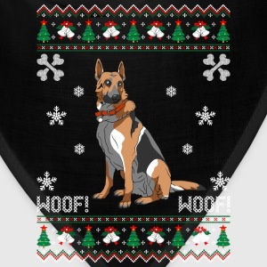 German Shepherd Ugly Christmas Sweater T-Shirts - Bandana