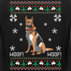 German Shepherd Ugly Christmas Sweater T-Shirts - Men's Premium Tank