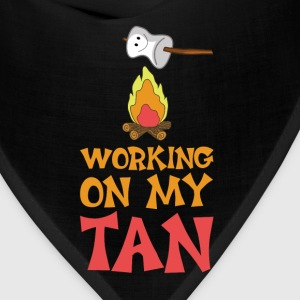 Working on My Tan Graphic Marshmallow T-Shirt T-Shirts - Bandana