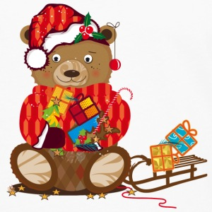 little bear with Christmas hat T-Shirts - Men's Premium Long Sleeve T-Shirt