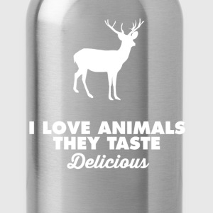 I love Animals They Taste Delicious Hunting TShirt T-Shirts - Water Bottle