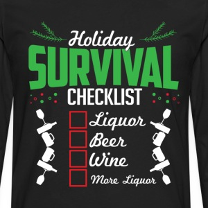Christmas Holidays Survival List Liquor Wine Beer  T-Shirts - Men's Premium Long Sleeve T-Shirt