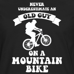 Never underestimate an old guy on a mountain bike - Men's Premium Long Sleeve T-Shirt