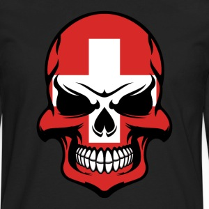 Swiss Flag Skull Cool Switzerland Skull - Men's Premium Long Sleeve T-Shirt