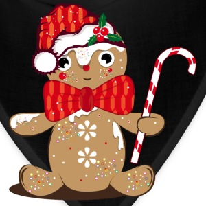 funny gingerbread man with candy cane Aprons - Bandana