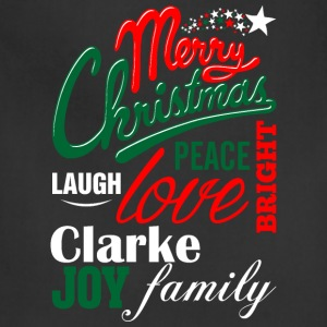 Merry Christmas Laugh Peace Love Bright Joy Clarke T-Shirts - Adjustable Apron