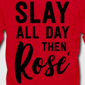 Slay all day then Rose T-Shirts - Unisex Fleece Zip Hoodie by American Apparel