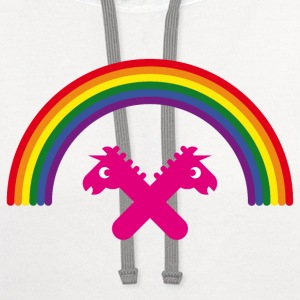 Unicorns Under The Rainbow T-Shirts - Contrast Hoodie