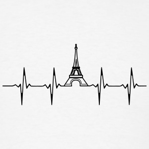 Eiffel Tower Heartbeat Buttons - Men's T-Shirt