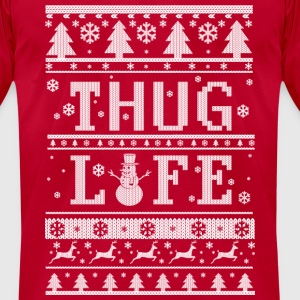 Thug Life Ugly Christmas Long Sleeve Shirts - Men's T-Shirt by American Apparel