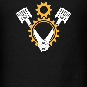 V8 Engine Pistons and Gears - Men's T-Shirt