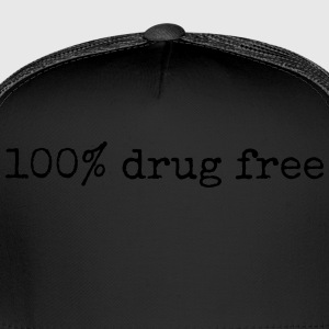 100% Drug Free black mens tshirt - Trucker Cap