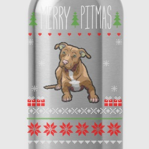 Merry Pitmas Puppy Christmas Sweater - Water Bottle