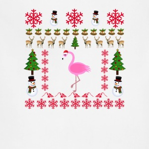 tropical_christmas_flamingo_santa_claus_ - Adjustable Apron