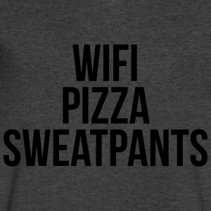 WiFi Pizza Sweatpants Funny Quote Long Sleeve Shirts - Men's V-Neck T-Shirt by Canvas