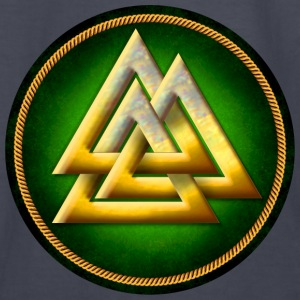 Norse Valknut - Gold and Green - Kids' Long Sleeve T-Shirt