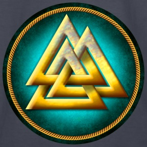 Norse Valknut - Gold and Teal - Kids' Long Sleeve T-Shirt