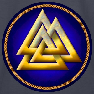 Norse Valknut - Gold and Blue - Kids' Long Sleeve T-Shirt