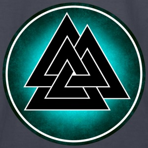 Norse Valknut - Black and Teal - Kids' Long Sleeve T-Shirt