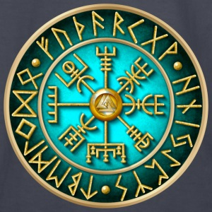 Vegvisir Runes - Teal - Kids' Long Sleeve T-Shirt
