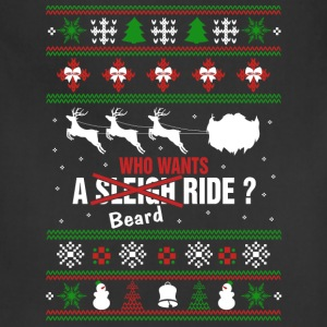 Mustache - Who wants a beard ride xmas sweater - Adjustable Apron
