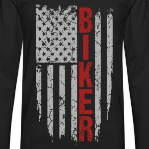 Biker - Awesome flag t-shirt for American biker - Men's Premium Long Sleeve T-Shirt