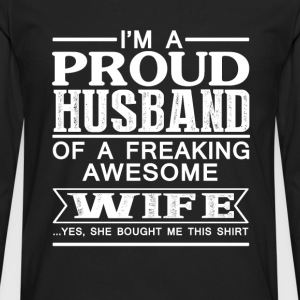 Wife - Proud husband of an awesome wife - Men's Premium Long Sleeve T-Shirt