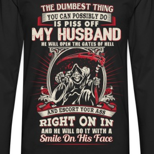 Husband - He will open the gates of hell - Men's Premium Long Sleeve T-Shirt