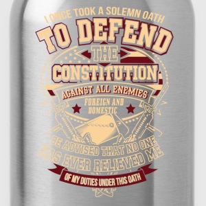 Veteran - Solemn oath to defend the constitution - Water Bottle