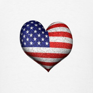 Usa Flag 3d Heart - Men's T-Shirt