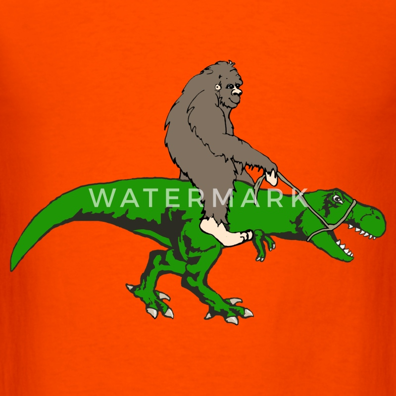Bigfoot riding T rex - Men's T-Shirt