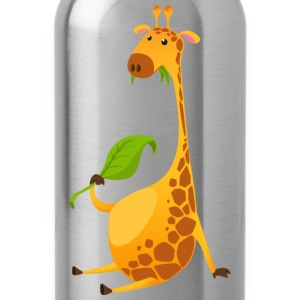 giraffe-chewing-on-a-leaf - Water Bottle