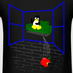 Linux penguin Throws an Apple out the Window Baby Bodysuits - Men's T-Shirt