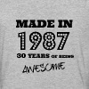 Made in 1987 30th birthday  - Baseball T-Shirt