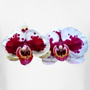 Maroon And White Phalaenopsis Orchids Side By Side Mugs & Drinkware - Men's T-Shirt