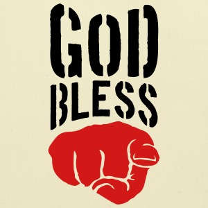 God bless you finger show hand funny god jesus log T-Shirts - Eco-Friendly Cotton Tote
