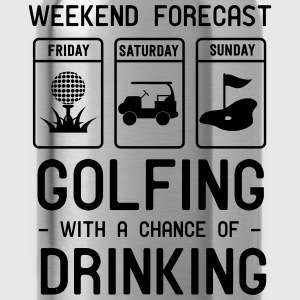 Weekend forecast. Golfing and Drinking T-Shirts - Water Bottle