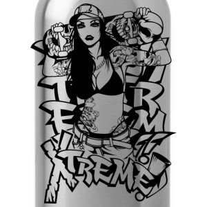 sexy_girl_with_skateboard_black - Water Bottle