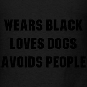 Wears black loves dogs avoids people Bags & backpacks - Men's T-Shirt